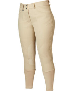 Dublin Women's Active Shapely Euro Seat Front-Zip Breeches, Beige, hi-res