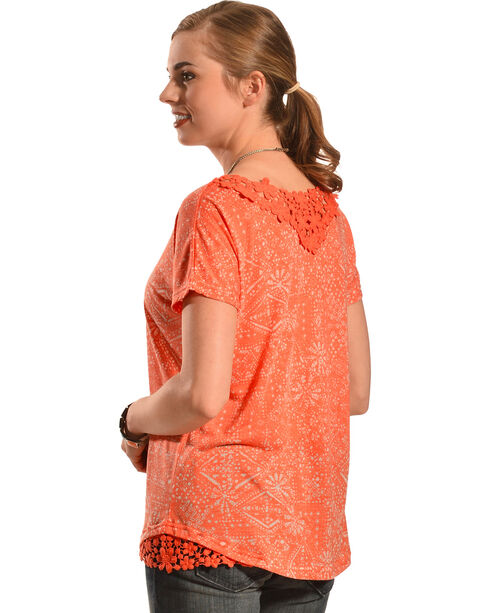 New Direction Sport Women's Orange Lace Top , Coral, hi-res