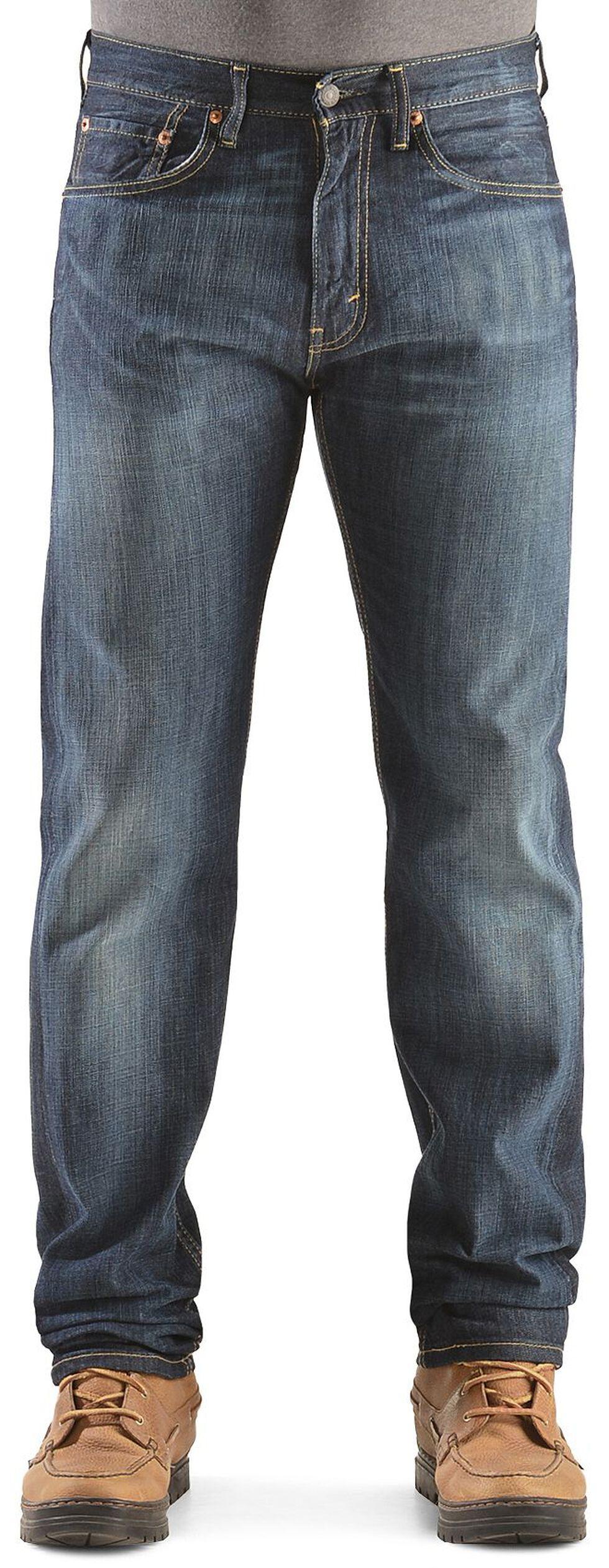 Levi's 505 Shoestring Rinse Straight Leg Jeans, Dark Denim, hi-res