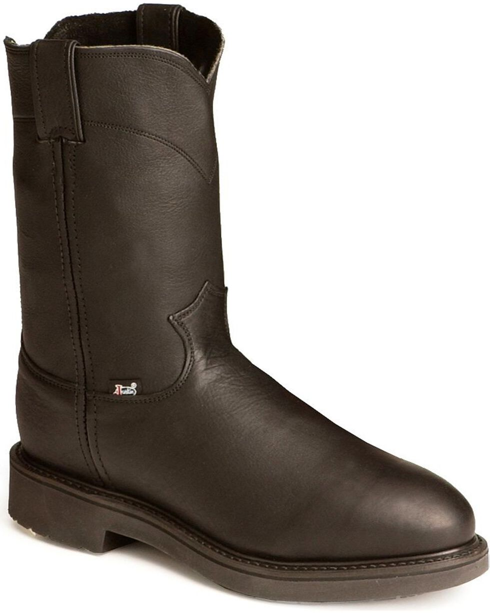 Justin Men's Conductor Electrical Hazard Pull-On Work Boots - Steel Toe, Black, hi-res
