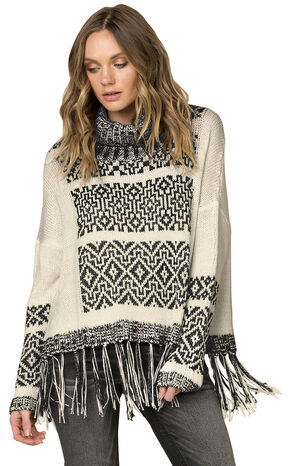 Miss Me Women's Fringe Trimmed Turtleneck Sweater, Beige, hi-res