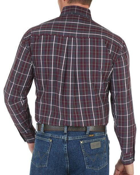 Wrangler Men's Wine George Strait Plaid Shirt - Tall , Wine, hi-res