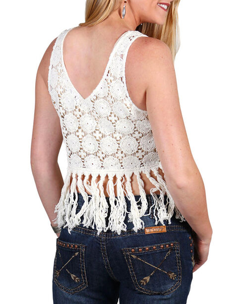 Shyanne Women's Ivory Crochet Fringe Top, Ivory, hi-res