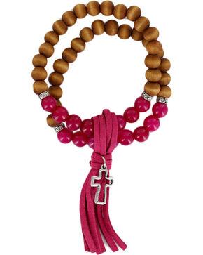 Shyanne® Women's Wooden Beaded Tassel Bracelet, Silver, hi-res