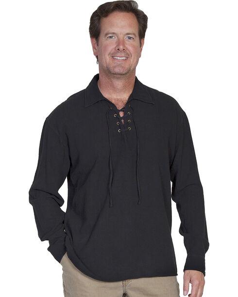 Scully Cantina Lace-Up Shirt, Black, hi-res