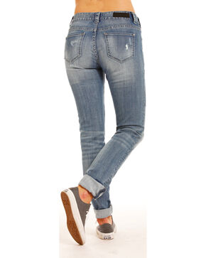 Rock & Roll Cowgirl Women's Patched Boyfriend Skinny Jeans, Indigo, hi-res