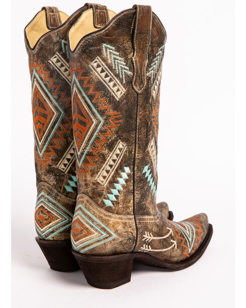 Corral Diamond Embroidered Cowgirl Boots - Snip Toe, Black, hi-res