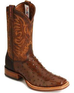 Tony Lama Full Quill Ostrich Stockman Boots, , hi-res