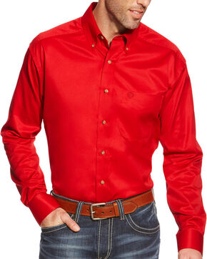 Ariat Men's Red Twill Western Shirt , Red, hi-res