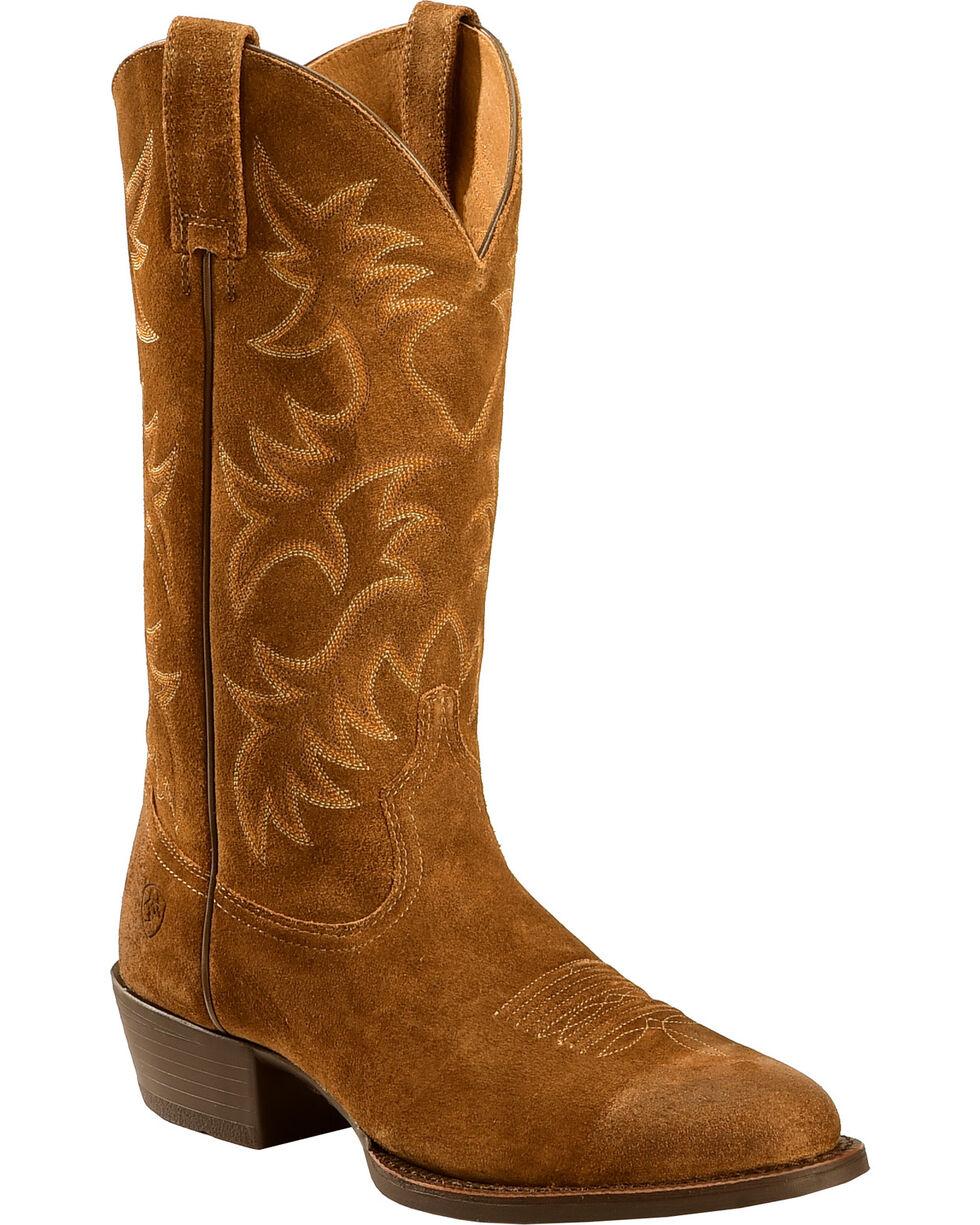 Ariat Men's Heritage Suede Cowboy Boots - Medium Toe , Antique Chocolate, hi-res