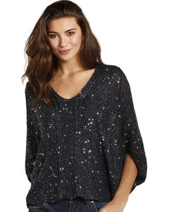 Rock & Roll Cowgirl Women's Black Sequin Knit Top , Navy, hi-res