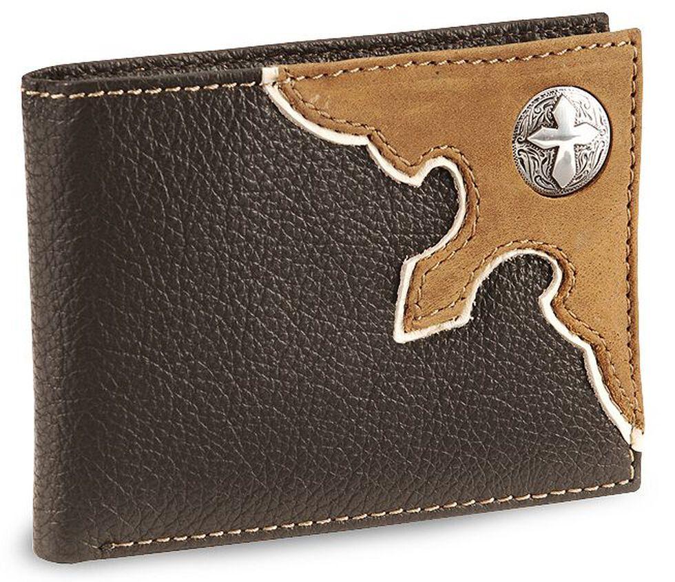 Nocona Cross Concho Bi-Fold Leather Wallet, Brown, hi-res