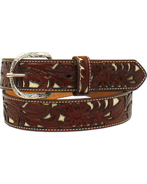 Nocona Men's Tooled Floral Overlay Western Belt , Tan, hi-res