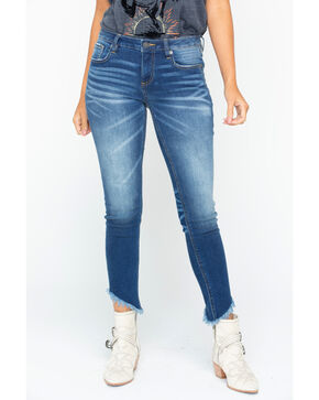 Miss Me Women's Slanted Hem Skinny Jeans, Indigo, hi-res