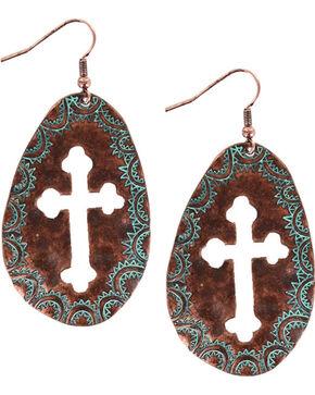 Shyanne Women's Oval Cross Cutout Dangling Earrings , Turquoise, hi-res