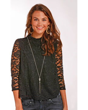 Panhandle Women's Lace Swing Top, Black, hi-res