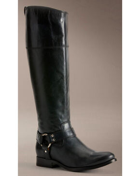 Frye Women's Melissa Harness Inside Zipper Riding Boots - Extended Calf, Black, hi-res
