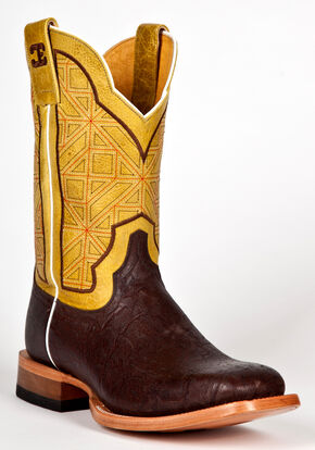 Cinch Men's Elephant Print Western Boots - Square Toe, Brown, hi-res