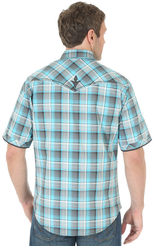 Wrangler Rock 47 Men's Teal Snap Plaid Shirt, Teal, hi-res