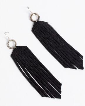 Jewelry Junkie Women's Black Leather Fringe Earrings , Black, hi-res