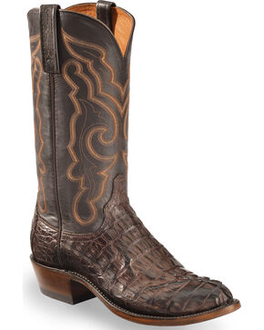 Lucchese Men's Handmade Dark Brown Franklin Hornback Caiman Tail Boots - Round Toe , Dark Brown, hi-res