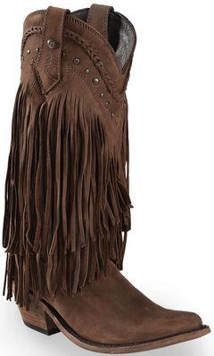 Liberty Black Vegas Fringe Boots - Pointed Toe, , hi-res