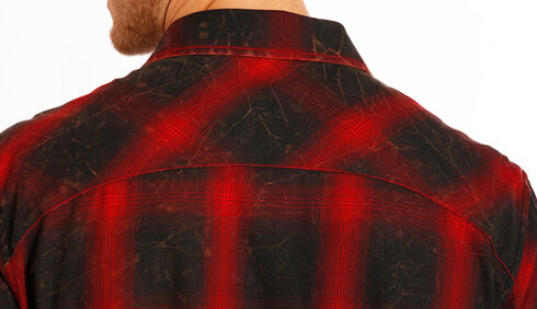 Rock and Roll Cowboy Men's Red and Black Plaid Flannel Western Shirt , Red, hi-res