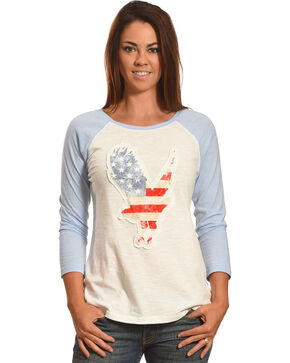 Shyanne Women's American Flag Eagle Baseball Tee, White, hi-res
