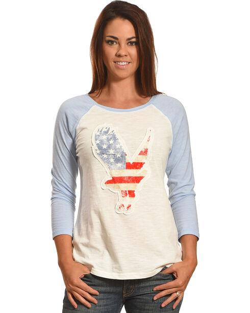 Shyanne Women's American Flag Eagle Baseball Tee, White, hi-res