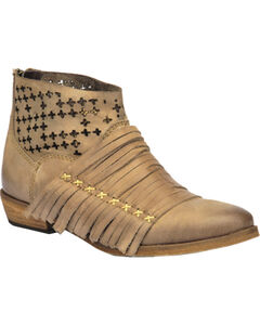 Corral Burnished Strappy Lasercut Short Boots, , hi-res