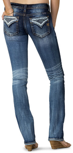 Miss Me Women's Indigo Open Flap Slim Fit Jeans - Extended Sizes, , hi-res