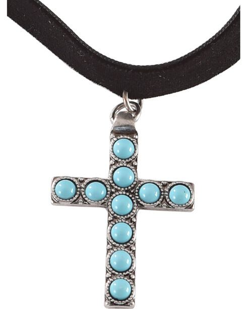 Shyanne Women's Turquoise Cross Choker , Turquoise, hi-res