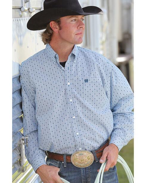 Cinch Men's Teal Plain Weave Print Long Sleeve Button Down Shirt, Teal, hi-res