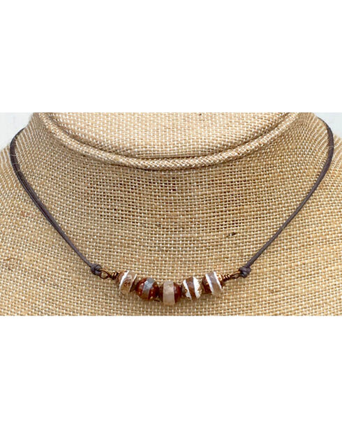 InspireDesigns Women's Brown Agate Bar On Cord Choker , Brown, hi-res