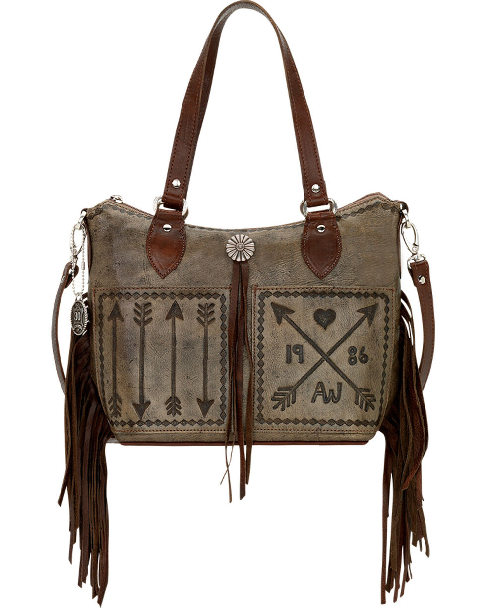 American West Charcoal Brown Cross My Heart Zip Top Convertible Tote, Rustic Brn, hi-res