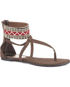 Roper Women's Brown Callie Sandals , Brown, hi-res