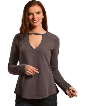 Other Follow Women's Charcoal Keyhole Swing Top, Charcoal, hi-res