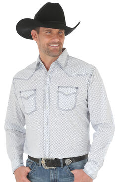 Wrangler 20X Men's White/Blue Competition Advanced Comfort Snap Shirt - Big & Tall, White, hi-res