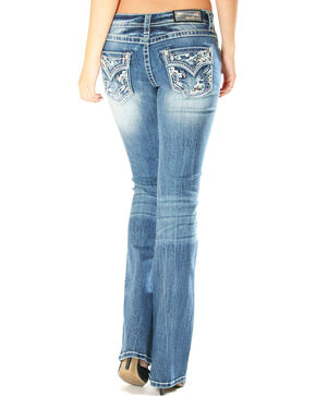 Grace in LA Women's Distressed with Embellished Pocket Jeans - Boot Cut, Indigo, hi-res