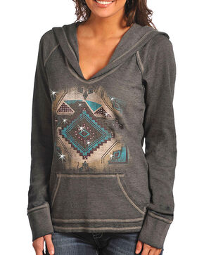 Rock & Roll Cowgirl Women's Charcoal Aztec Hoodie , Charcoal, hi-res