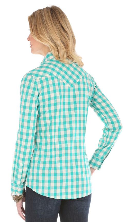 Wrangler Women's Gingham Metallic Plaid Shirt, Teal, hi-res