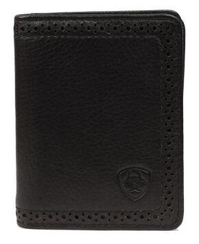 Ariat Perforated Edge Embossed Logo Bi-fold Wallet, Black, hi-res