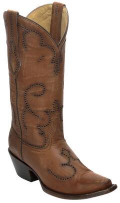 Corral Distressed Cognac Laser-Cut Cowgirl Boots - Snip Toe, Cognac, hi-res