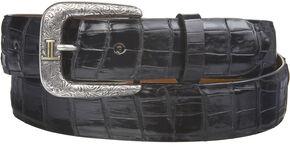 Lucchese Men's Black Caiman Ultra Belly Leather Belt, Black, hi-res