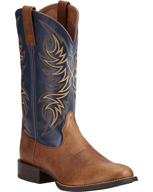 Ariat Men's Sport Horseman Tan/Blue Cowboy Boots - Round Toe, Tan, hi-res
