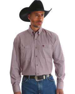 Wrangler Men's Red George Strait Button Down Shirt - Big & Tall , Red, hi-res