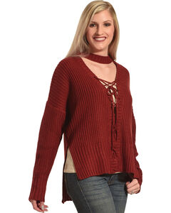 HYFVE Women's Choker Lace-Up Sweater , Burgundy, hi-res