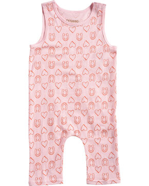 Shyanne Infant Girls' Pink Horseshoe and Heart Onesie, Pink, hi-res
