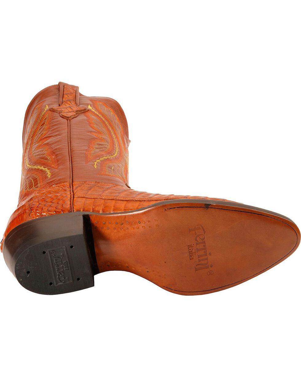 Ferrini Cognac Caiman Tail Cowboy Boots - Medium Toe, Cognac, hi-res