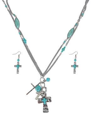Shyanne Women's Cross Charm Jewelry Set, Silver, hi-res